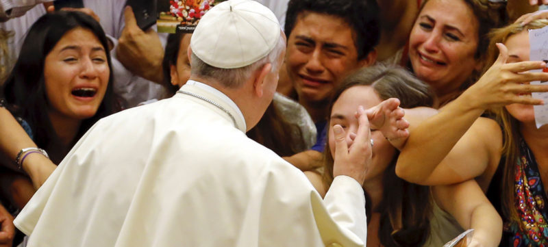 Pope Francis greets crowd in year of mercy