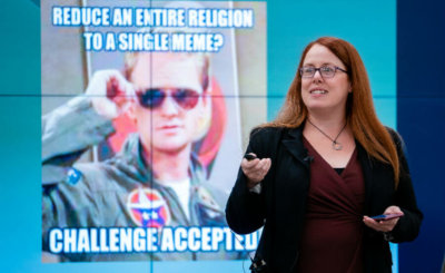 "Heidi Campbell, a communications professor at Texas A&M University in College Station, speaks Oct. 18, 2019, during a conference titled ""Religion Beyond Memes"" at the University of Notre Dame's Ansari Institute for Global Engagement in Washington."