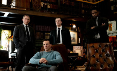 "Daniel Craig, Chris Evans, Noah Segan and LaKeith Stanfield star in a scene from the movie ""Knives Out."" (CNS photo/Lionsgate)"