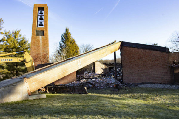 The bell tower of Most Blessed Sacrament Church in Franklin Lakes, N.J., is seen standing Dec. 12, 2019, after a fire destroyed the rest of the church the previous morning.